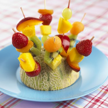 Fruit skewers , close up