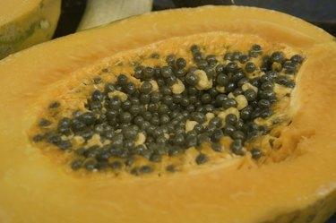 Exotic papaya fruit with seeds, close-up