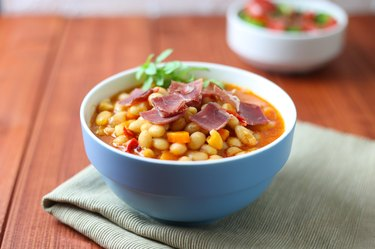 Bean soup with bacon and salad