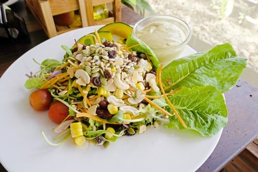 cereals and vegetables salad in the dish