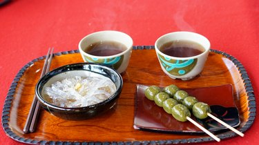Japanese Kyoto traditional sweets dessert set serve with tea