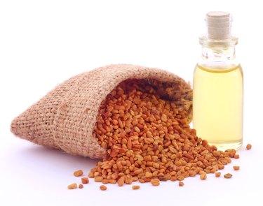 Fenugreek with oil in bottle