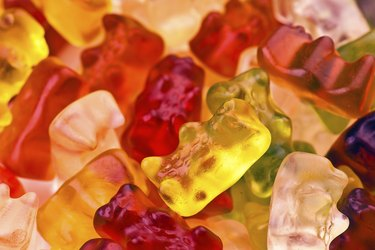 lot of gummy bear shaped transparent