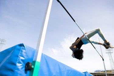 Woman high jumping