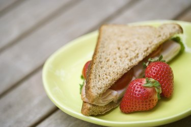 Turkey sandwich with strawberries