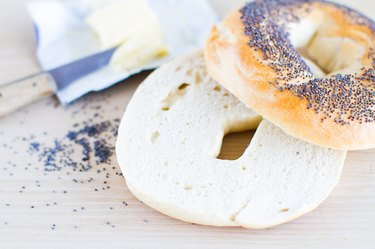 poppyseed bagel with butter