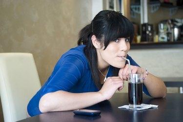 Teenage girl in bar