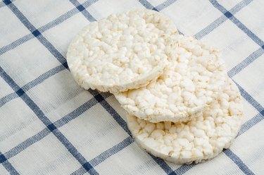 rice cake, puffed rice on table cloth