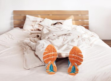 All time ready to run. Runner sleep in comfort run shoes