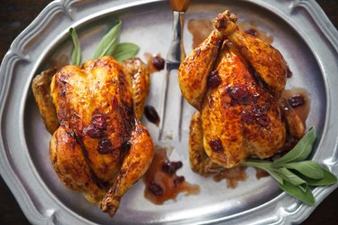 Cornish Game Hens with Cranberry Sauce