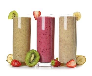 Smoothies strawberry, banana and kiwi