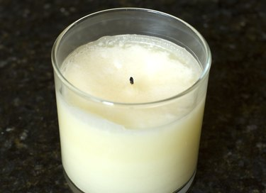 soy candle in glass container