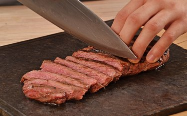 Slicing meat.