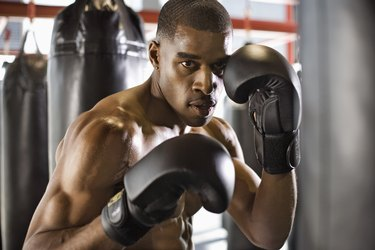 Man in boxing pose