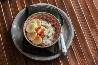 Oatmeal with banana  and dried apricots. Healthy Breakfast