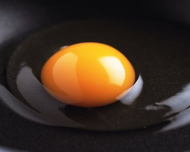 Raw Egg on the Frying Pan, Close Up