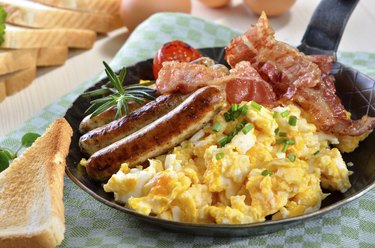 Scrambled eggs and sausages