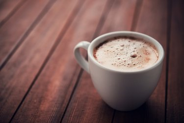 White cup of aroma cappuccino