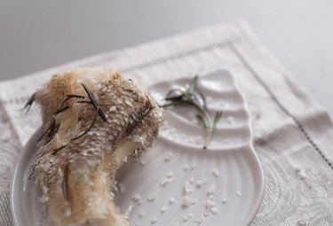 Cooked on steam grenadier fish with sea salt
