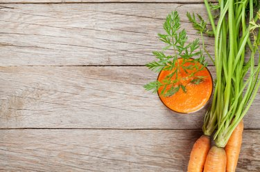 Fresh vegetable smoothie. Carrot juice