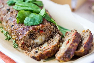 Meat roll, meatloaf, minced beef with vegetables, olives