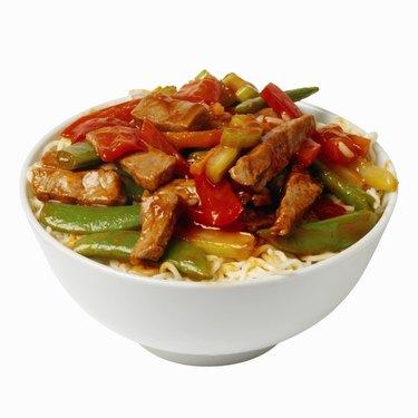 Close-up dish of Chinese food