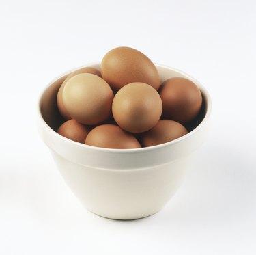 Bowl full of brown eggs