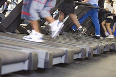 Exercising legs in gym