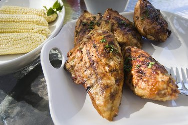 Grilled chicken and corn on the cob