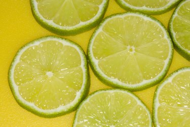 sliced lime on yellow