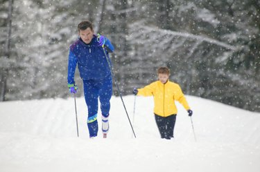 A couple of cross country skiers