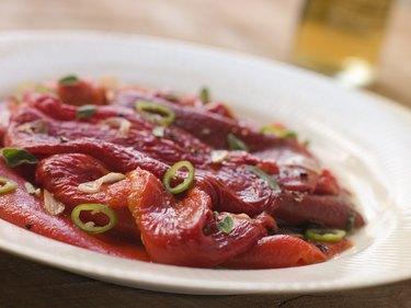 Marinated Roasted Capsicum with Garlic and Chili