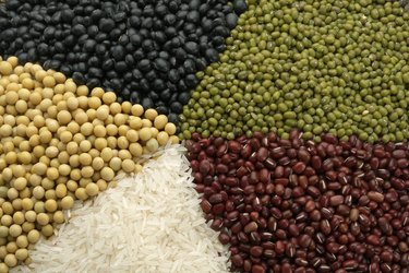Different Chinese grains and beans, close-up