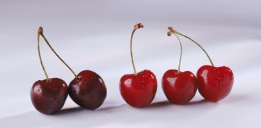 Cherries on white background, close-up