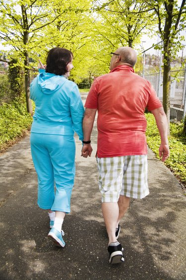 Couple walking together outside