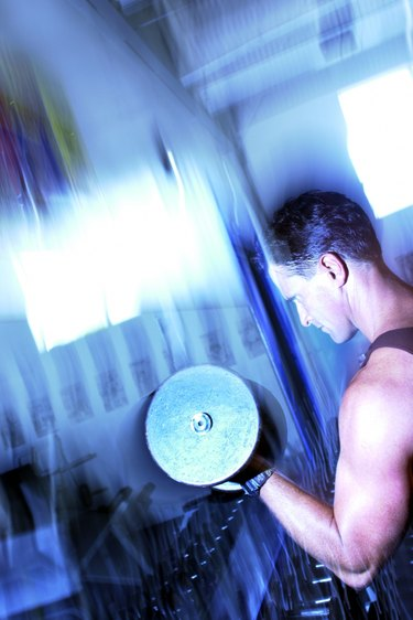 Man exercising with weights