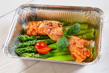 Healthy food in box, diet concept.