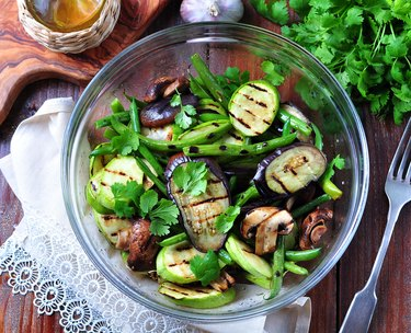 Grilled vegetables - zucchini, eggplant, green beans, onion, mushrooms, garlic