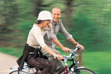 Mature Couple Riding Their Bicycles