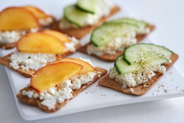 Ricotta cheese with peach and cucumber