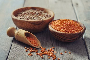 Lentils in wooden bowl