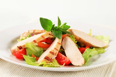Grilled chicken breast and salad