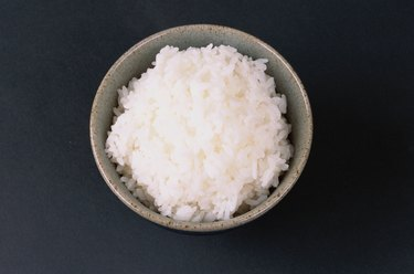 Bowl of white rice, overhead view