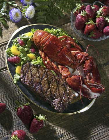 Close-up of seafood and steak on a plate