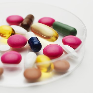 Close-up of pills in dish