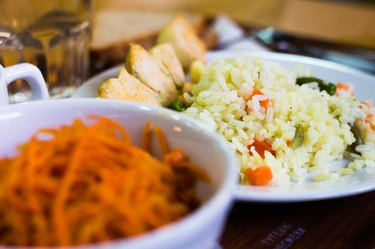 Salad of carrot and rice dish on the table