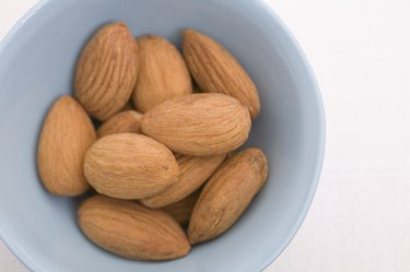 Bowl of almonds, close-up