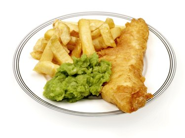 Plate of Fish and Chips With Mushy Green Peas