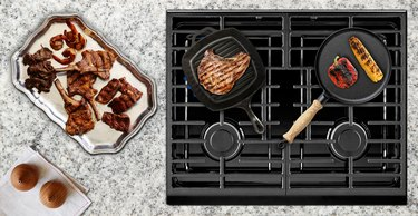 Cooking juicy meat on gas stove