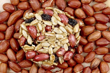 Round candied seeds and nuts with peanuts.